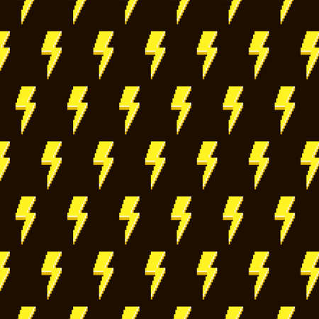 simple vector pixel art multicolor endless pattern of abstract yellow thunderbolts. seamless pattern of yellow lightning on black background Иллюстрация
