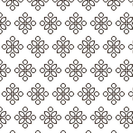 simple vector pixel art black and white endless pattern of abstract geometric flower. seamless pattern of abstract decorative black flowers on white background
