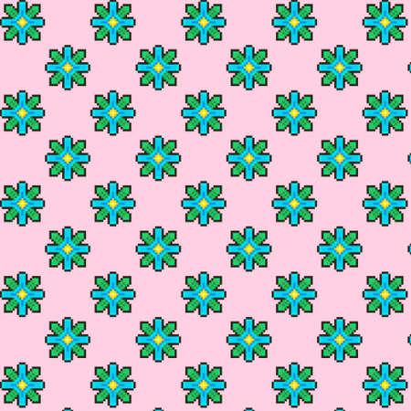 simple vector pixel art multicolor endless pattern of fantasy four-petalled blue flowers. seamless fantasy floral pattern Иллюстрация