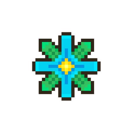 colorful simple flat pixel art illustration of cartoon fantasy four-petalled blue flower Иллюстрация