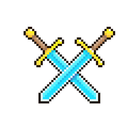 colorful simple flat pixel art illustration of cartoon two crossed medieval knight swords