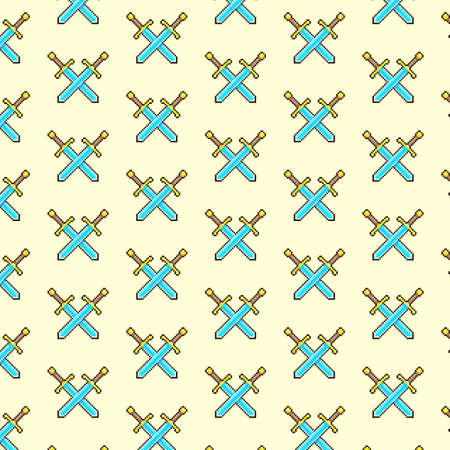 simple vector pixel art multicolor endless pattern of two crossed medieval knight swords. seamless pattern of two crossed swords