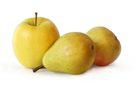 One Ripe Yellow Apple and Two Juicy Golden Pears