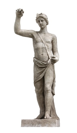 identified: In Greek and Roman mythology Apollo was the son of Zeus and Leto, and the twin of Artemis (identified with the Roman Diana). Apollo was the god of poetry, music, archery, prophecy, law and justice. Stock Photo