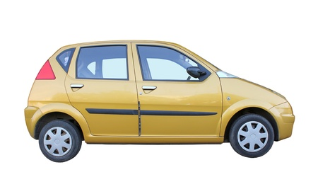 Small car side view isolated on white background. Stock Photo