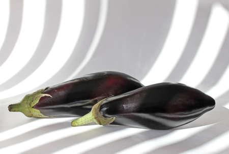 Two Fresh Aubergines. Ingredient of Vegetarian Healthy Food. Stock Photo - 9992536