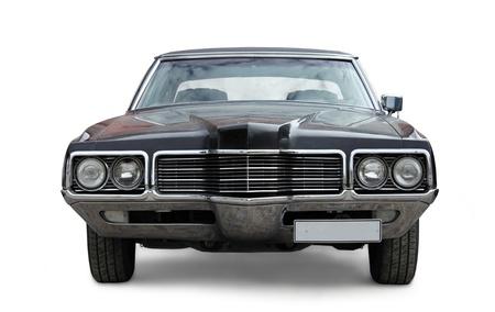 voiture ancienne: Vieux Vue de face de voiture sur fond blanc Editeur