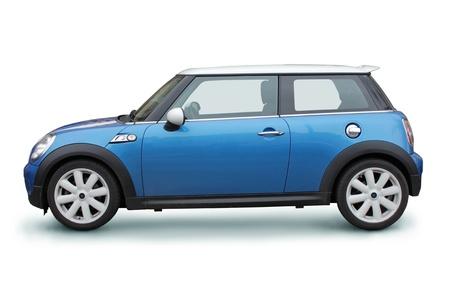 ruedas de coche: Coche peque�o con estilo vista lateral en el fondo blanco Editorial