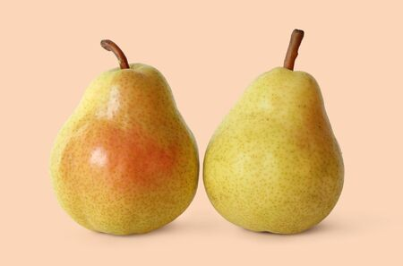 Two Juicy Ripe Golden Pears. Ingredient of Healhty Food. Stock Photo - 10074752