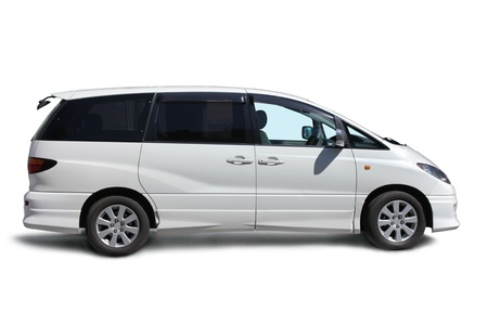 Stylish family van side view on white background.