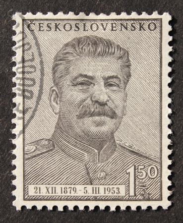 czechoslovakia: CZECHOSLOVAKIA - CIRCA 1953. A postage stamp printed by Czechoslovakia shows image portrait of Soviet communist leader Joseph Stalin (1879 - 1953), circa 1953.  Stock Photo