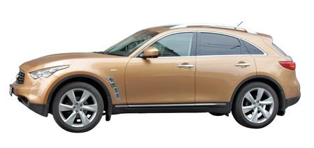 Stijlvolle auto zijaanzicht op een witte achtergrond.