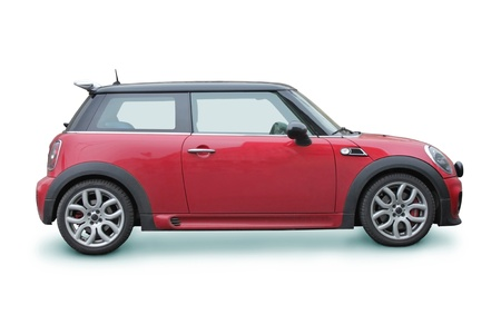 mini: Small stylish car side view on white background