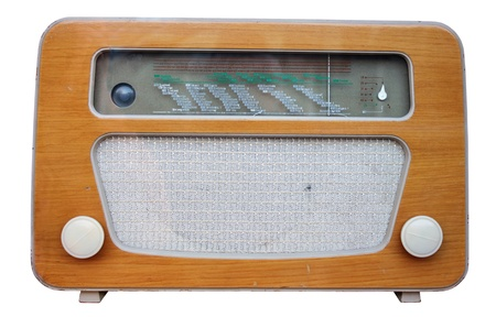 Old radio device isolated on white background. photo