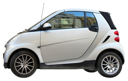 Small city car side view isolated on white background