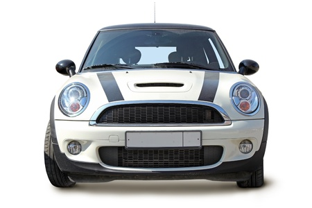 Small stylish car front view on white background Stock Photo - 10266507