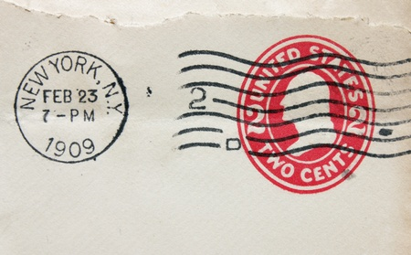 cancellation: Vintage cancellation stamp from New York on an old envelope (dated 1909)