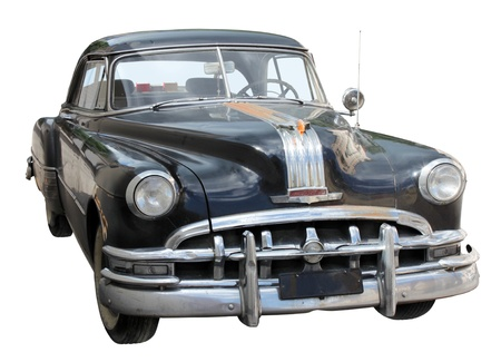 Black Old Car Front View Isolated on White Background. Stock Photo - 10538994