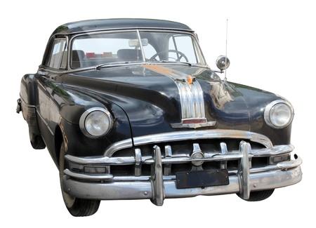 voiture ancienne: Noire Voir Vieux avant de la voiture isol� sur fond blanc.