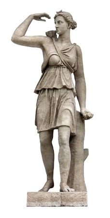 identified: Artemis (identified with Diana by Romans) is Olympian Goddess of the wilderness, the hunt and wild animals, and fertility. Artemis is the twin sister of Apollo.
