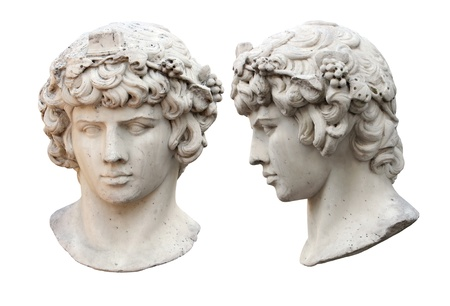Marble portrait of  Bacchus (side view and front view) isolated on white background. Stock Photo