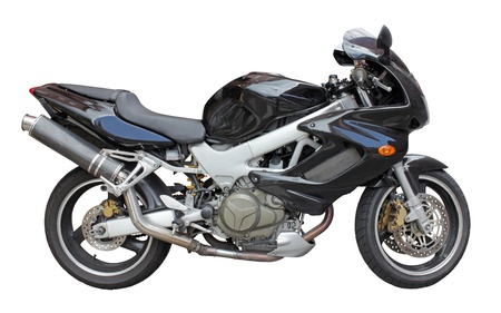 Motorbike side view isolated on white background. Stock Photo