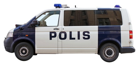 Police van side view isolated on white background. photo