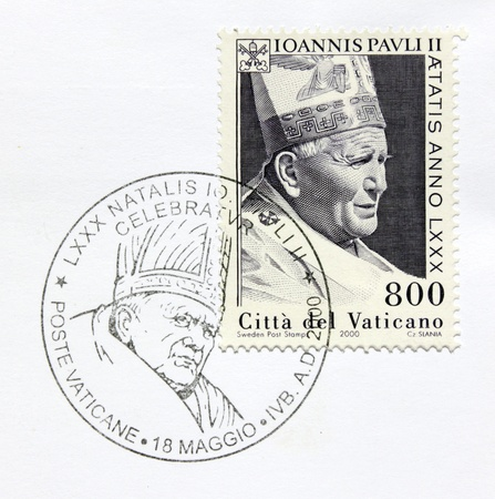 VATICAN - CIRCA 2000. A postage stamp issued in 2000 shows image portrait of Pope John Paul II. Circa 2000. Stock Photo