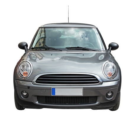 Small stylish car front view isolated on white background