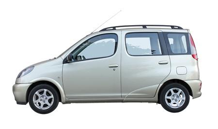 Stylish family car side view isolated on white background. Stock Photo
