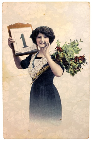 Russia - CIRCA 1900. Vintage postcard with hand painted photograph of beautiful lady in fashion dress of 1900. Circa 1900
