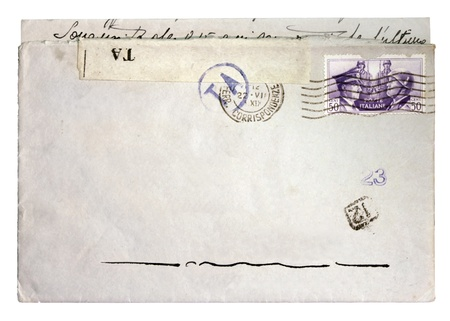 fascism: ITALY - CIRCA 1941. Vintage envelope with mail stamp printed in Italy showing Hitler and Mussolini face to face. Circa 1941.