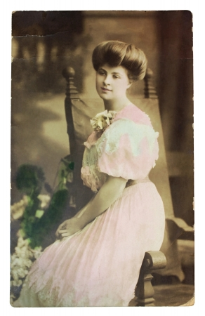 color photographs: GERMANY - CIRCA 1907: Vintage postcard printed in GERMANY shows hand painted photograph of famous AMERICAN pianist Myrtle Elvyn. Circa 1907.