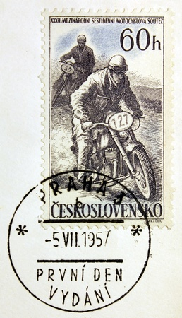 CZECHOSLOVAKIA - CIRCA 1957: a stamp printed by Czechoslovakia shows motorcycle competition, circa 1957. photo