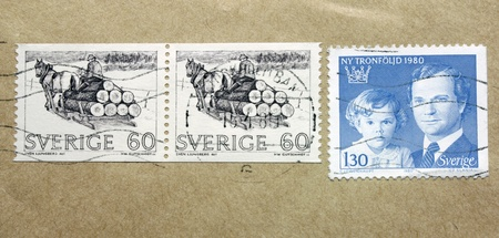 SWEDEN - CIRCA 1980: three stamps printed by SWEDEN shows portrait of Carl XVI Gustaf King of Sweden, Crown Princess Victoria and Swedish peasant, circa 1980. Stock Photo