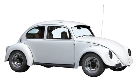 Small old white car isolated on a white background.