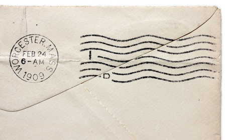 cancellation: USA - CIRCA 1909: Vintage cancellation postmark from Worcester, Massachusetts on an old envelope, circa 1909. Stock Photo