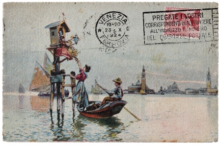 iii: ITALY - CIRCA 1924: a stamp printed by ITALY shows portrait of King Victor Emmanuel III. Stamp is on the old  postcard shows view of Venice, circa 1924.