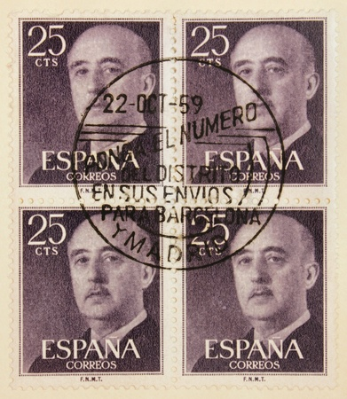 SPAIN - CIRCA 1959: a set of four stamps printed by SPAIN shows image portrait of  Spanish general, dictator Francisco Franco (1892-1975), circa 1959. photo