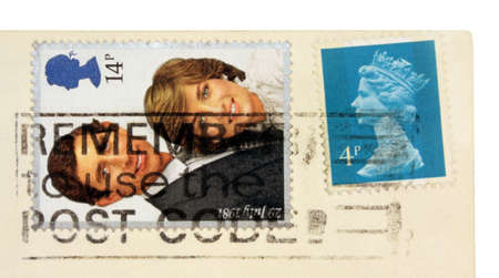 lady diana: UNITED KINGDOM - CIRCA 1981: a set of two stamps printed by England shows portraits of Queen Elizabeth II, Lady Diana Spencer and Charles Prince of Wales, circa 1981.