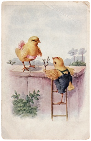 AUSTRIA - CIRCA 1912: Vintage Easter post card printed by AUSTRIA shows pair of chickens in love, circa 1912.