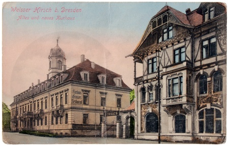GERMANY - CIRCA 1902: a postcard printed in GERMANY shows view of Weisser Hirsch district in Dresden (Bautzner street), circa 1902. Stock Photo - 12904162