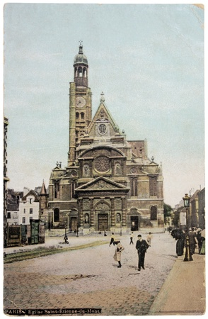 FRANCE - CIRCA 1906: a postcard printed in FRANCE shows view of Church Saint-Etienne-du-Mont in Paris, circa 1906.