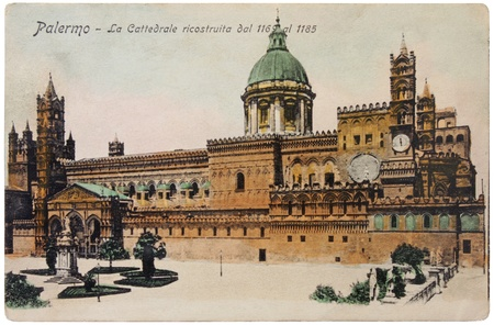 ITALY - CIRCA 1905: a postcard printed in Paris shows hand tinted photograph  of the Cathedral of Palermo, circa 1905.