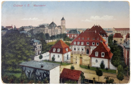 GERMANY - 1916: a postcard printed in GERMANY shows west district of Colmar town. At present Colmar town is part of France. Circa1916 Stock Photo - 12943760