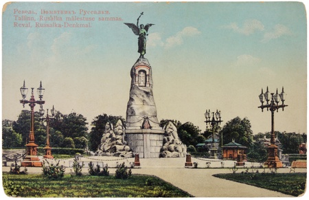 RUSSIA - CIRCA 1914: a postcard printed in Russia shows Russalka Memorial in Tallinn. Monument was erected in memory of the sinking of the Russian warship Russalka, circa 1914. Stock Photo - 12943754