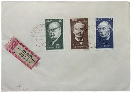 johannes: GERMANY - CIRCA 1972: a set of three stamps printed by GERMANY shows portraits of writer Johannes Tralow, archaeologist H. Schliemann and composer K. A. Kocor, circa 1972 Editorial