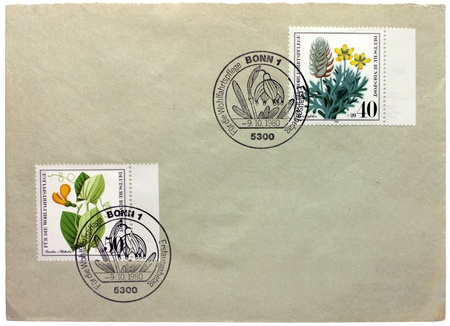 GERMANY - CIRCA 1980: a set of two stamps printed by GERMANY shows flowers, circa 1980.