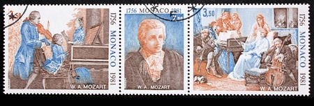 amadeus: MONACO - CIRCA 1981: A set of three stamps printed by MONACO shows portrait of Wolfgang Amadeus Mozart and Mozarts family, circa 1981.