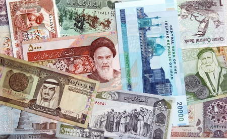 iraq money: Money of Iran, Iraq, Qatar, Oman, Jordan and Saudi Arabian  Stock Photo